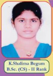 K.Shalima Begum B.Sc(CS) - II Rank