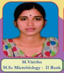 M.Vinitha M.Sc Microbiology - II Rank