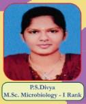P.S.Dhivya M.Sc Microbiology - I Rank