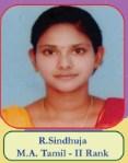 R.Sindhuja M.A Tamil - II Rank