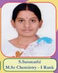 S.Sunmathi M.Sc Chemistry - I Rank